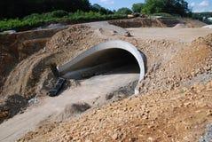 Tunnelkonstruktionsplats - slåss trafikvolym royaltyfria bilder