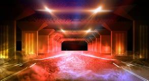 Tunnelneonlicht, ondergrondse passage Abstracte achtergrond met lijnen en gloed royalty-vrije stock foto