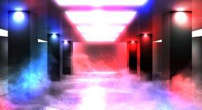 Tunnelneonlicht, ondergrondse passage Abstracte achtergrond met lijnen en gloed royalty-vrije stock afbeeldingen