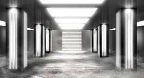 Tunnelneonlicht, ondergrondse passage Abstracte achtergrond met lijnen en gloed royalty-vrije stock fotografie