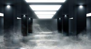 Tunnelneonlicht, ondergrondse passage Abstracte achtergrond met lijnen en gloed stock foto