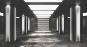Tunnelneonlicht, ondergrondse passage Abstracte achtergrond met lijnen en gloed stock afbeeldingen