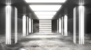 Tunnelneonlicht, ondergrondse passage Abstracte achtergrond met lijnen en gloed stock foto's