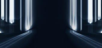 Tunnelneonlicht, ondergrondse passage Abstracte achtergrond met lijnen en gloed stock fotografie