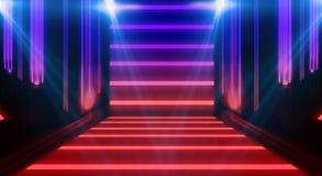 Tunnelneonlicht, ondergrondse passage Abstracte achtergrond met lijnen en gloed royalty-vrije stock foto's
