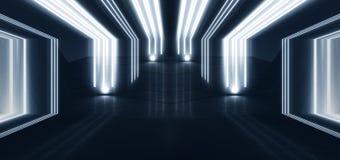 Tunnelneonljus, underjordisk passage Abstrakt bakgrund med linjer och glöd royaltyfri illustrationer