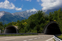 Tunnels. On an empty highway Stock Images