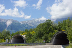 Tunnels. Two tunnels on an empty highway Royalty Free Stock Photos