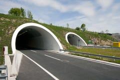 Tunnels auf der Landstraße mit vier Wegen Stockfotos