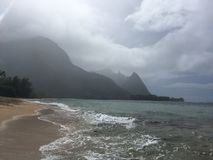 Tunnels Beach during Rain on Kauai Island, Hawaii. Tunnels Beach during Rain on Kauai Island in Hawaii Stock Images