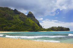 Tunnels Beach With A View Of Makana Royalty Free Stock Image