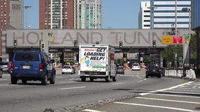 Tunnels, Driving, Cars, Transportation. Entrance to the Holland Tunnel, New York City stock video footage