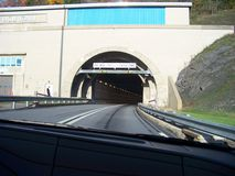 Tunnels on Pennsylvania Turnpike. Driving westbound into tunnel on PA turnpike.   OCT. 2014 Stock Photos