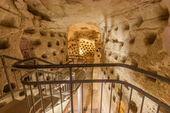 Tunnels in underground caves, Beit Govrin, Israel.  Royalty Free Stock Photo