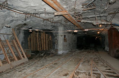 The tunnels of the underground mine. The divergent tunnels with metals of the underground mine in Russia Stock Photo