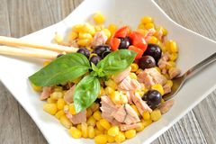 Tunny and corn salad Royalty Free Stock Image
