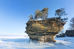 Tunrip Rock in Winter - Port Austin Michigan. USA Royalty Free Stock Photos