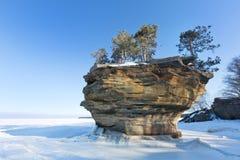 Tunrip Rock in Winter - Port Austin Michigan. USA royalty free stock photos