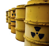 Tuns with radioactive warning symbol Royalty Free Stock Photos
