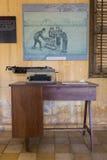 Tuol Sleng博物馆或S21监狱,金边, Cambodi内部  免版税库存照片