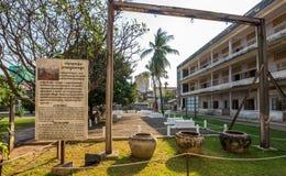 Tuol Sleng/21 folkmord museum, Phnom Penh, Cambodja Arkivbild