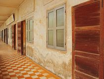 Tuol Sleng Prison, Phnom Penh. Corridor of Tuol Sleng prison, also called Security Prison 21 (S-21), which was used by the Khmer Rouge communist regime from 1975 Royalty Free Stock Photography