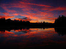 Tuolumne Sunset 2. Sunset at Tuolumne Meadows reflected in water Stock Image