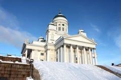 Tuomiokirkko saint et blanc à Helsinki Image stock
