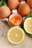 Tuorlo d'uovo con il limone fotografia stock libera da diritti
