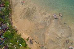 Aerial top view strait between the Poda island and Ma Tang Ming island. Tup Kaek beach close to Kwang beach and non Nak mountain during low tide .can see long stock photography