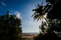 Tup Kaek beach in Krabi. Beautiful view on Tub Kaak beach in Krabi region, Thailand. Landscape taken close to Ao Nang with blue sky and yellow sand Stock Photos