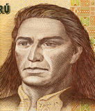 Tupac Amaru II. On 500 Intis 1987 Banknote from Peru. Leader of the indigenous uprising in 1780 against the Spanish occupation Royalty Free Stock Images