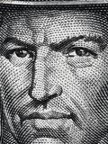Tupac Amaru II portrait on Peruvian 50 soles 1977 banknote clo. Seup extreme macro, leader of indigenous rebellion against the Spanish in colonial Peru royalty free stock images