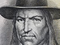 Tupac Amaru II portrait on Peruvian 50 soles 1977 banknote clo. Seup macro, leader of indigenous rebellion against the Spanish in colonial Peru stock image