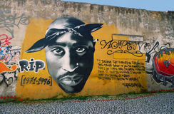 Tupac Shakur Graffiti Royalty-vrije Stock Foto's