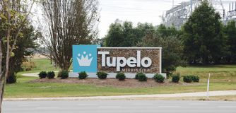 Tupelo, MIssissippi. Tupelo is the county seat and the largest city of Lee County, Mississippi. The seventh-largest city in the state, it is situated in stock photo