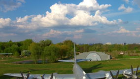 The Tupolev Tu-142 at the aviation museum in Kiev stock video footage