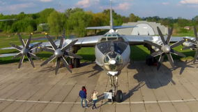 The Tupolev Tu-142 at the aviation museum in Kiev stock footage