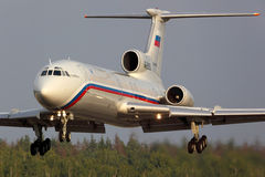 Tupolev TU-154B-2 RA-85563 of Russian Air Force landing at Chkalovsky. CHKALOVSKY, MOSCOW REGION, RUSSIA - JULY 31, 2013: Tupolev TU-154B-2 RA-85563 of Russian Stock Image