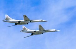 2 Tupolev Tu-22M3 (Backfire) supersonic  bombers. 2 Tupolev Tu-22M3 (Backfire) supersonic swing-wing long-range strategic and maritime strike bombers fly on Stock Photography