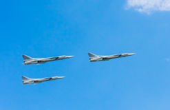 3 Tupolev Tu-22M3 (Backfire) supersonic maritime strike bombers fly Stock Photo
