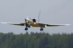 Tupolev Tu-22M3-R RF-94239 bomber of Russian Air Force landing at Kubinka air force base. KUBINKA, MOSCOW REGION, RUSSIA - MAY 18, 2015: Tupolev Tu-22M3-R RF Royalty Free Stock Image
