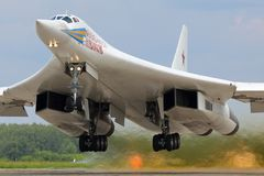 Tupolev Tu-160M RF-94109 modern strategic bomber airplane of russian air force takes off at Kubinka air force base. Kubinka, Moscow Region, Russia - June 22 Stock Photos