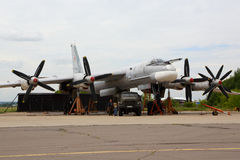 Tupolev Tu-95MS RF-94205 standing at Zhukovsky. ZHUKOVSKY, MOSCOW REGION, RUSSIA - AUGUST 12, 2015: Tupolev Tu-95MS RF-94205 standing at Zhukovsky Stock Photography