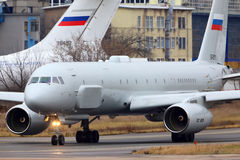 Tupolev Tu-204R reconnaissance aircraft taxiing at Zhukovsky. Stock Images