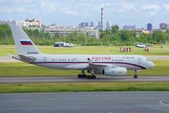 Tupolev Tu-204-300 RA-64058 degli aerei del ` speciale della Russia del ` dello squadrone di aria dopo l'atterraggio sull'aeropor Fotografia Stock Libera da Diritti