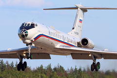 Tupolev Tu-134A-3 RA-65689 of Russian Air Force landing at Chkalovsky. CHKALOVSKY, MOSCOW REGION, RUSSIA - JULY 18, 2013: Tupolev Tu-134A-3 RA-65689 of Russian Royalty Free Stock Image