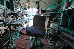 Tupolev Tu-134A. ZHUKOVSKY, RUSSIA - AUG 27, 2013: The cabin of navigator of the plane Tupolev Tu-134A is a twin-engined passenger airliner at the International vector illustration