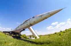 Tupolev Turkije-144 vliegtuig was eerste in de vliegtuigen van het wereld commerciële supersonische vervoer Stock Foto