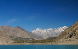 Tupopdan peaks and Attabad Lake,Northern  Pakistan Stock Photos